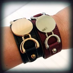 Leather Snap Cuff Bracelets Brown & Black NWT